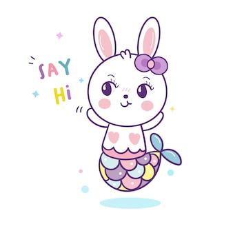 Cute, coelho, sereia, caricatura, kawaii