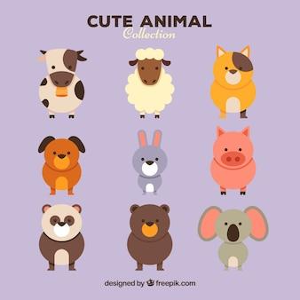 Cute conjunto de adoráveis animais
