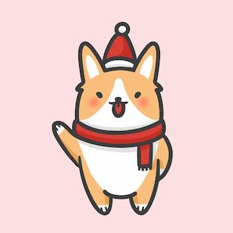 Cute corgi costume natal mão desenhada cartoon estilo