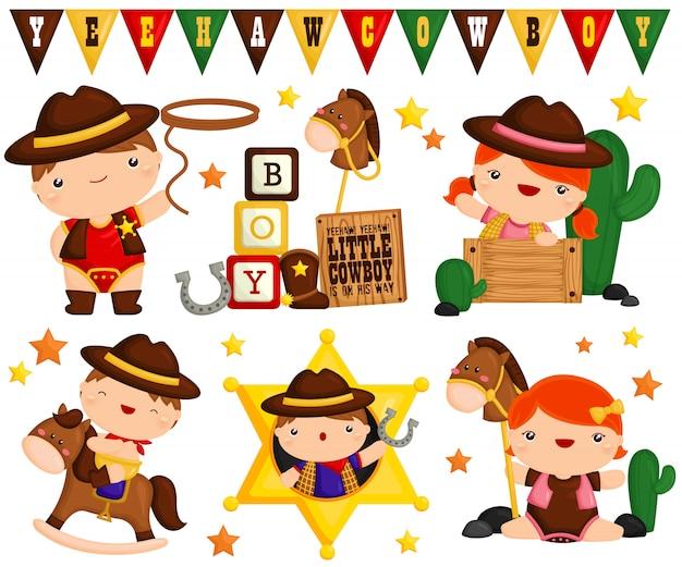 Cute cowboy baby vector set
