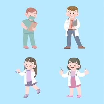 Cute, crianças, doutor, e, enfermeira, trabalho, cobrança, com, estetoscópio