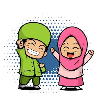 Cute, crianças, muçulmano, par, ilustração