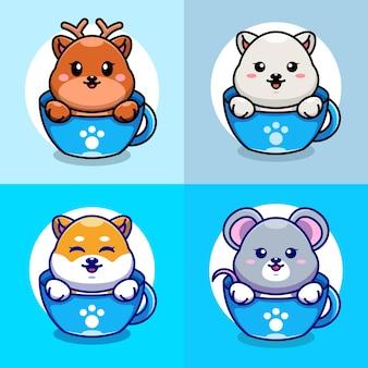 Cute deerpolar bearshiba inu e mouse na xícara de café desenho animado
