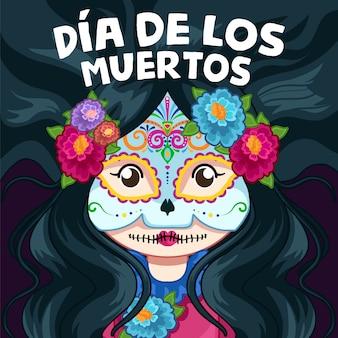 Cute dia de los muertos ilustração