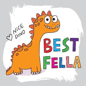 Cute, dinossauro, mão, desenhado, para, camisa t, imprimindo