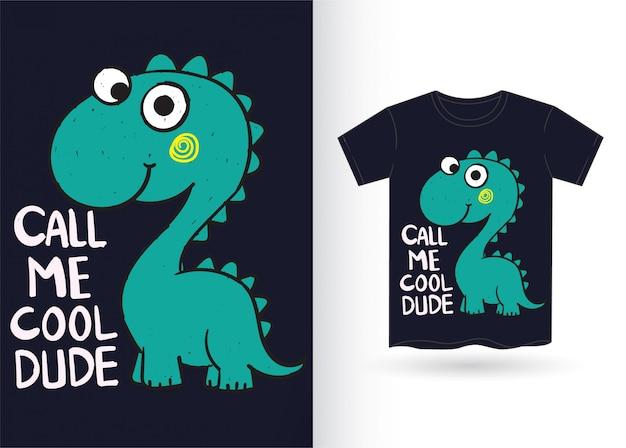 Cute, dinossauro, mão, desenhado, para, camisa t