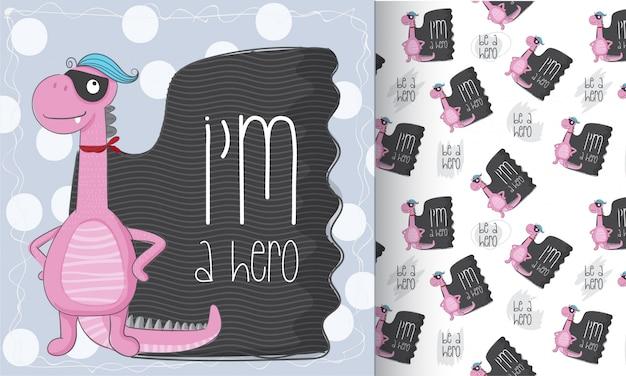 Cute, dinossauro, padrão, jogo, mão, desenhar, ilustração