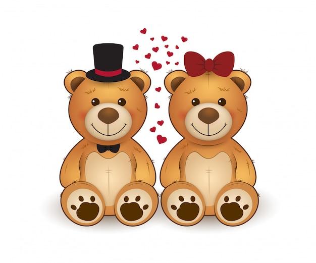 Cute dois ursos de peluche no amor