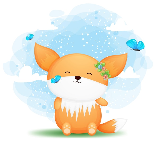 Cute doodle baby fox brincando com o personagem de desenho animado