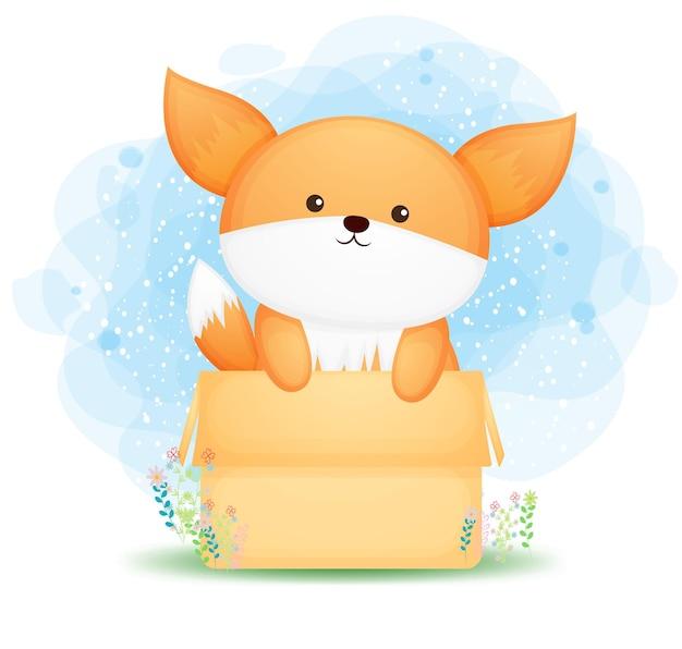 Cute doodle baby fox na caixa. chá de bebê