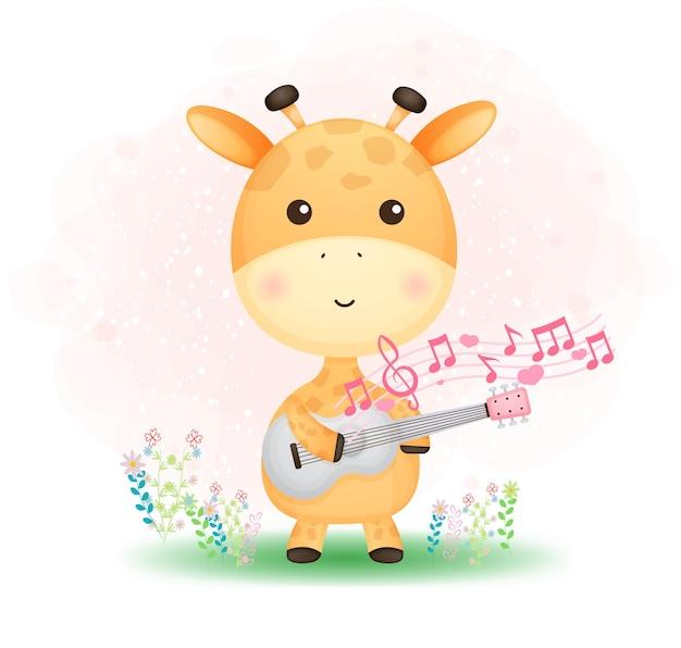 Cute doodle baby girafa tocando um violão na grama