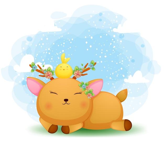 Cute doodle bebê cervo se deitando com o passarinho