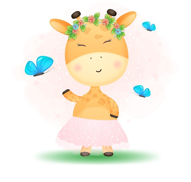 Cute doodle bebê girafa girl. chá de bebê