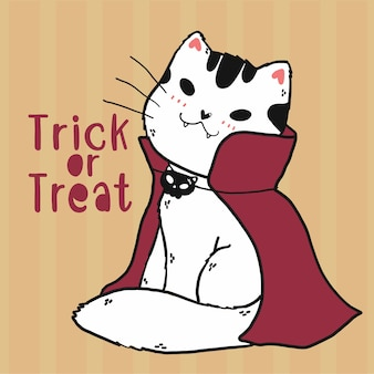 Cute doodle cat vampire custume doces ou travessuras arte de halloween, ideia para cartão de felicitações, cartão para impressão, arte de parede, sublimação, adesivo de cricut