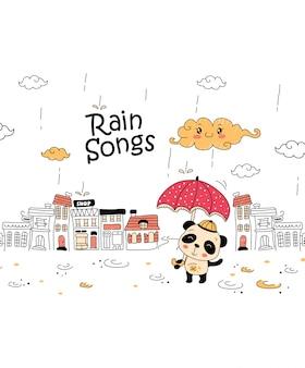 Cute doodle dos desenhos animados