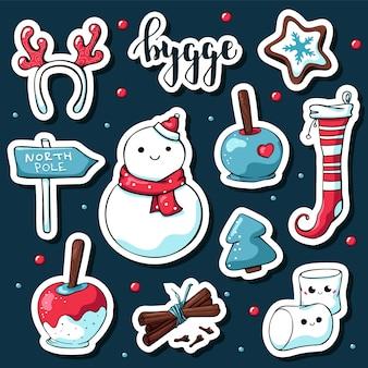 Cute doodle hygge adesivos