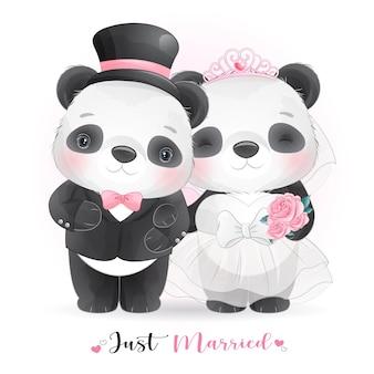Cute doodle panda com roupas de casamento, recém-casado