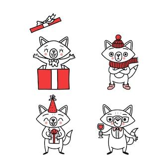 Cute doodle vector foxes, mão desenhada conjunto de animais engraçados.