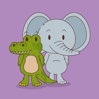 Cute e pequenos personagens de elefante e crocodilo