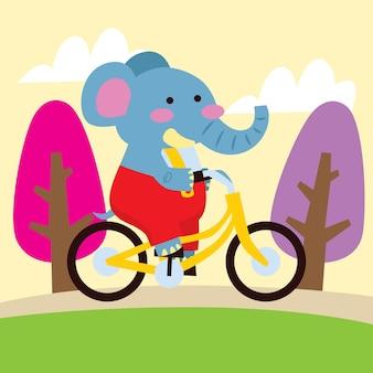 Cute elefante de desenho animado viajando de bicicleta