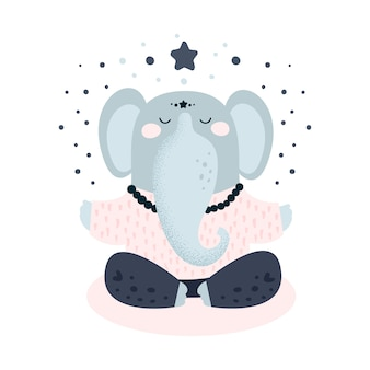 Cute, elefante, ioga, meditação