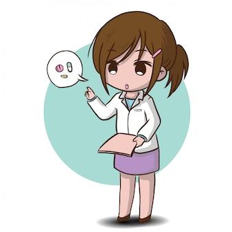 Cute, farmacêutico, caricatura