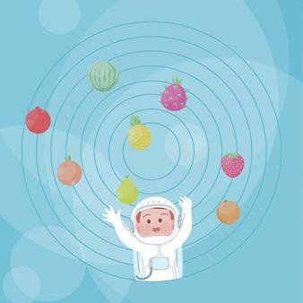 Cute, feliz, criança, astronauta, fruta