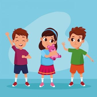 Cute, feliz, crianças, sorrindo, desenhos animados