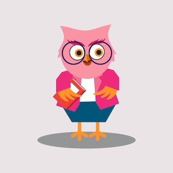 Cute female teacher of owl personagem de desenho animado