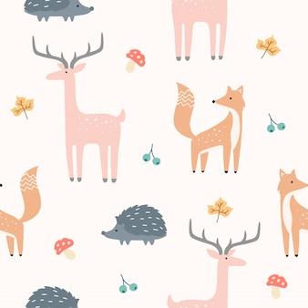 Cute, floresta, animal, seamless, padrão, para, papel parede