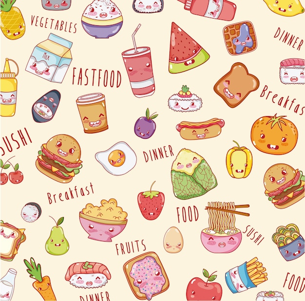 Cute food background kawaii cartoons