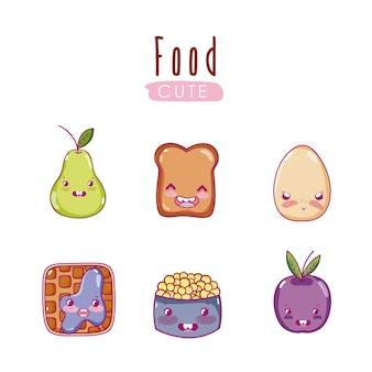 Cute food kawaii cartoons