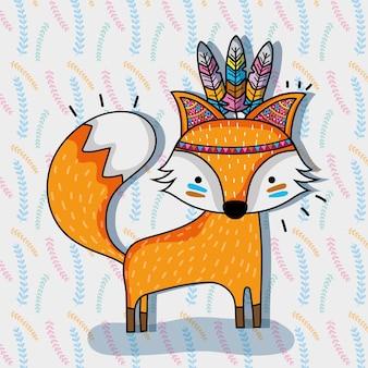 Cute fox animal tribal e penas