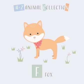Cute fox cartoon doodle alfabeto animal f