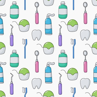Cute funny dentist equipment seamless pattern on white