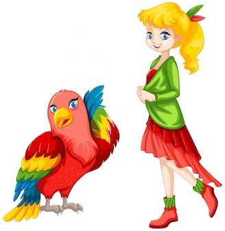 Cute girl and colorful parrot