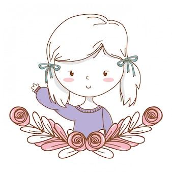 Cute girl cartoon frame de grinalda floral de retrato de roupa elegante
