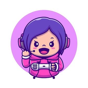 Cute girl gaming holding joystick cartoon icon ilustração. conceito de ícone de tecnologia de pessoas isolado. estilo flat cartoon
