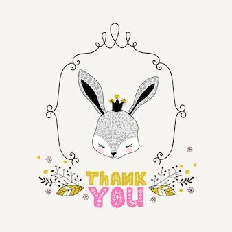 Cute girl rabbit hand drawn doodle cartão