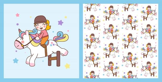 Cute girl ride unicorn jump obstáculos ilustração e padrão de fundo