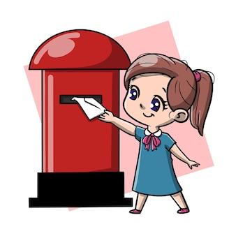 Cute girl send mail cartoon