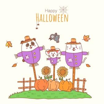 Cute halloween cartoon gato rato e panda em fantasia de espantalho.