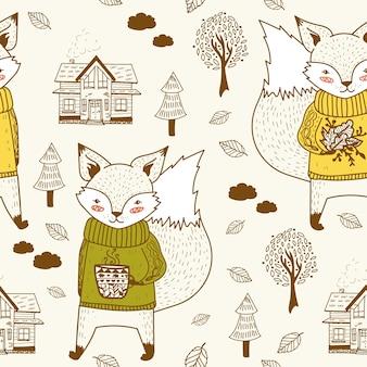 Cute hand drawn autumn doodle padrão sem emenda de raposa