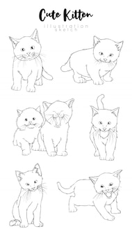 Cute kitten simple sketch set