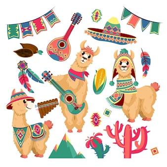 Cute lhamas engraçado animal alpaca em roupas mexicanas, guitarra, montanhas, cacto e guirlanda festiva
