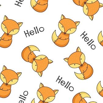 Cute little fox seamless pattern