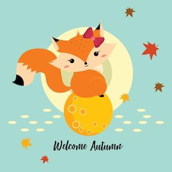 Cute little fox sentado na lua