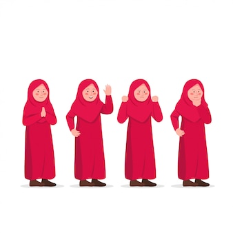 Cute little hijab girl expressões character design