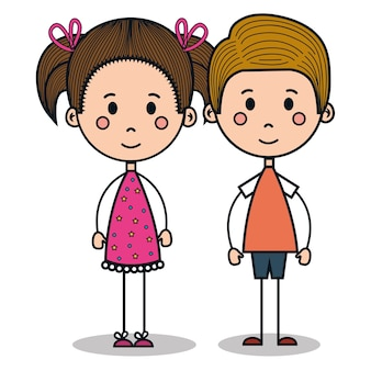 Cute little kids desenho ilustração vetorial design