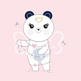 Cute little panda com asas de borboleta e guirlanda de corações. cores pastel da moda.